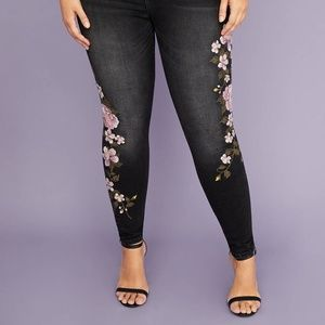 Lane Bryant Embroidered Super Stretch Skinny Jeans